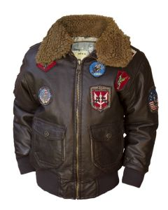 Kids PU Aviator Bomber Jacket by Top Gun